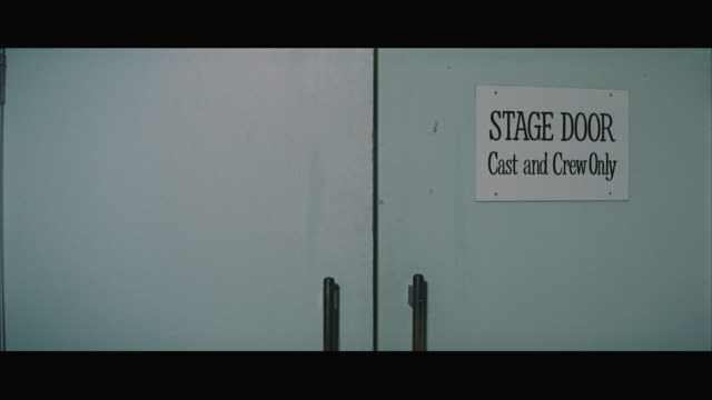 1967 MS Closed door with sign Stage Door - Cast and Crew Only