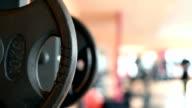 Closeup barbell platen