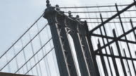 Closeup dolly shot of NYC's Manhattan Bridge
