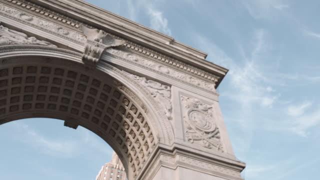 closeup establishing shot of New York City's Washington Square Park