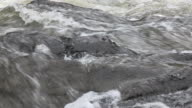 Close-up, handheld sequence showing white water and rocky banks of the River Spean, Argyllshire, Scotland.