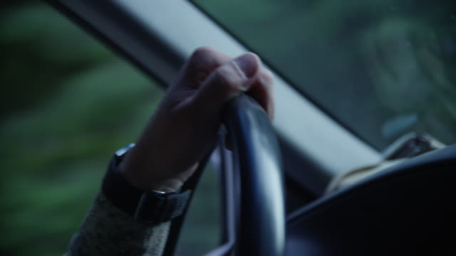Closeup man's hand on the steering wheel of truck driving through wilderness.