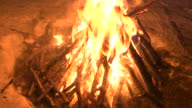 Close-up of a fiercely-burning campfire, Canada.