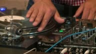 WGN Closeup of a CU Man's Hands Moving a Record On A DJ Turntable to create scratching sounds on October 28 2015