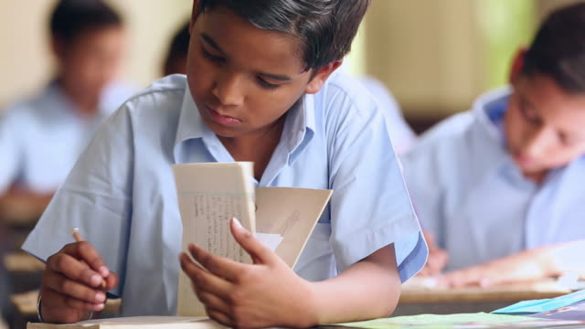 Close-up of a schoolboy studying in the classroom, Haryana, India