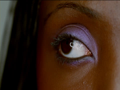 Close-Up of a Woman's Eye Looking Sideways and Then at the Camera