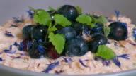Closeup of Bircher muesli ang yogurt breakfast meal topped with blueberries and garnish