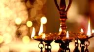 Close-up of burning oil lamp, Delhi, India