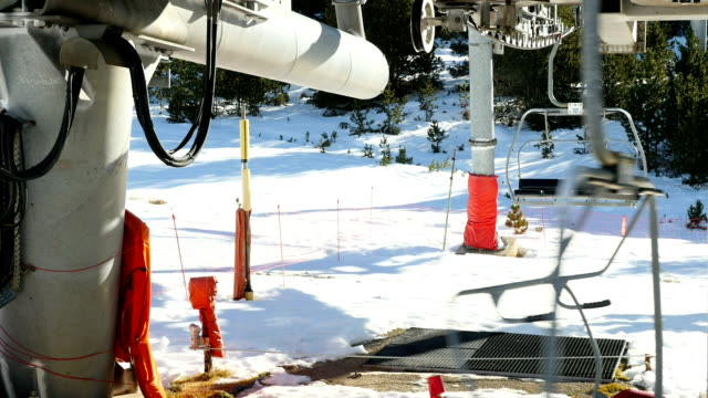 close-up of empty chair lift.