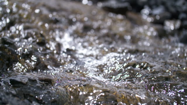 Closeup of flowing glacier water, high speed static shot