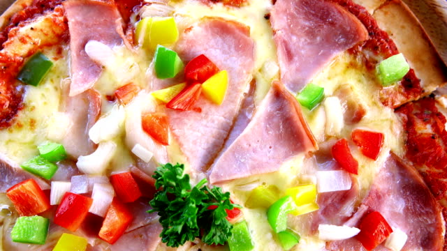 Close-up of freshly baked pizza.