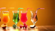 Close-up of glasses of fruits juice