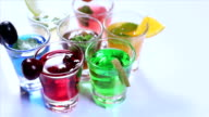 Close-up of glasses of juices