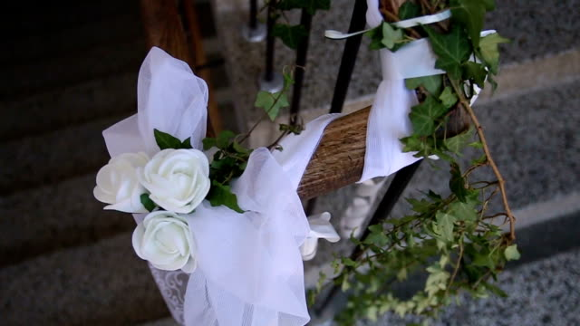 Close-up of green and white flowers decoration