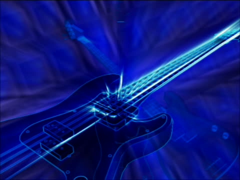 Close-up of guitars on blue background