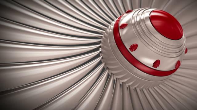 Close-up of jet engine turbine blades. CG loopable.