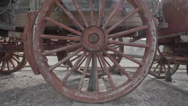 Closeup of rustic wagon wheel