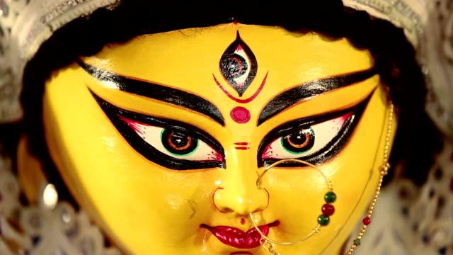 Close-up of statue of goddess durga, Delhi, India