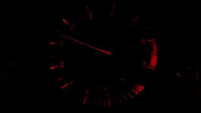 closeup of tachometer