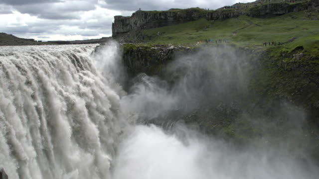 Close-up of the powerful  Dettifoss  waterfall  in Vatnajökull National Park, Iceland  in summertime