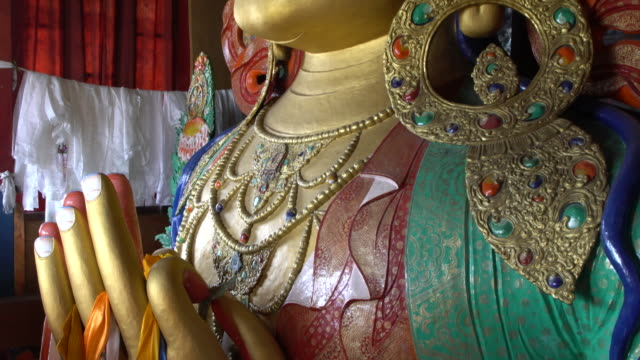 Close-up of the statue of Maitreya inside Thiksay Monastery, Ladakh, India