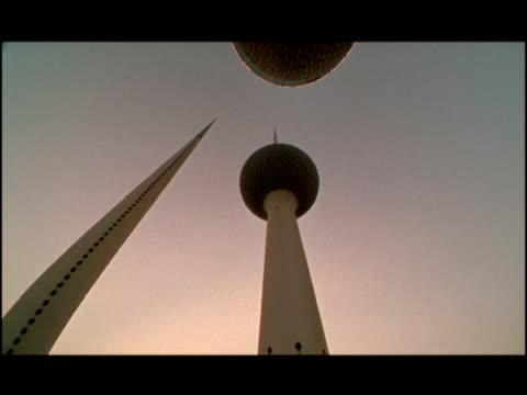 2001 Close-up pan Modern Kuwait Towers standing in city/ Kuwait City, Kuwait