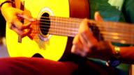 Closeup playing guitar solo