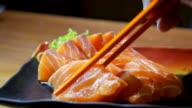 DS:Close-up Serve Salmon Sashimi