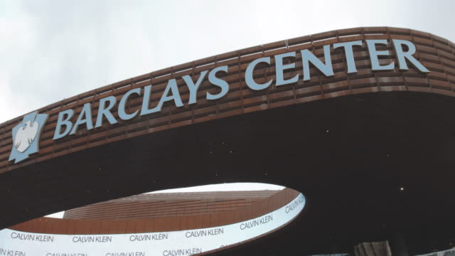 closeup shot of the entrance to Brooklyn's Barclays Center - 4k