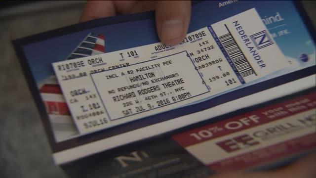 WPIX Closeup Shot of The 'Hamilton' Musical Ticket