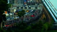 Closeup shot time lapse of a busy traffic at the Singapore causeway bridge