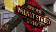 Close-up sign, 'Historic Walnut Street District'