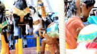 Closeup spinning of carousel ride