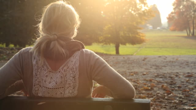 Close-up view of woman sitting on park bench, sunset