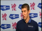Closing ceremony / handover to London Michael Phelps press conference and interviews **Music heard SOT** Michael Phelps interview SOT Probably four...