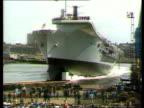 Closure fears 1981 MS Aircraft carrier 'HMS Ark Royal' down ramp at launching ZOOM GV Swan Hunter shipyard