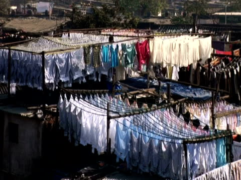 Clothes hanging out to dry, Mumbai, India