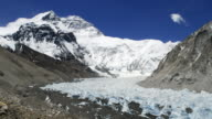 Cloud drifts over Himalayas, Mount Everest and glacier, Tibet, China
