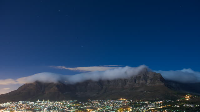 T/L Cloud over Table Mountain, Cape Town at night, South Africa