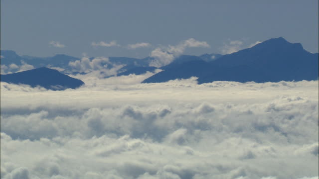 AERIAL WS Clouds and mountains, Wemmershoekberge Mountains, Western Cape, South Africa