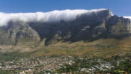T/L Clouds create tablecloth effect over Table Mountain, Cape Town, South Africa