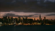 Clouds fly above the Manhattan skyline as boats travel along the Hudson River in New York City.