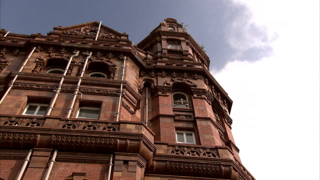 Clouds hover over the Midland Hotel in Manchester England. Available in HD.