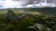 WS T/L Clouds moving across derryveagh mountains near lake / Glenveagh National Park, Donegal, Ulster, Ireland