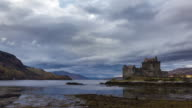 Clouds moving around Eilean Donan castle HD