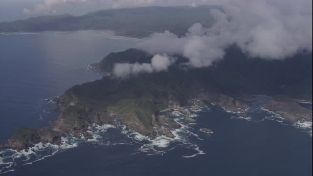 Clouds over a rocky headland along the Chilean coast. Available in HD.