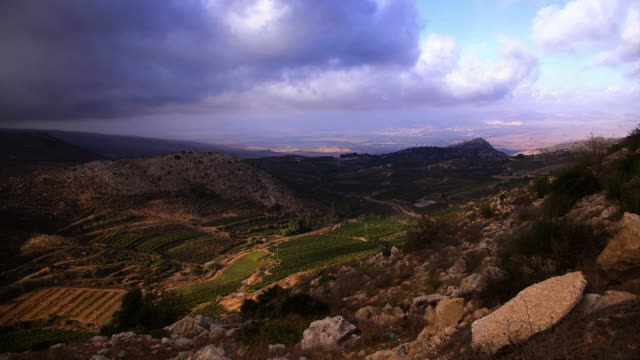 clouds over Crusader fortress and mountains, Upper Galilee, Israel
