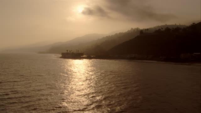 AERIAL clouds over Malibu coast, California, USA