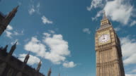 LA T/L MS Clouds passing over Big Ben/ London, England