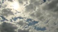 Clouds race past the sun.